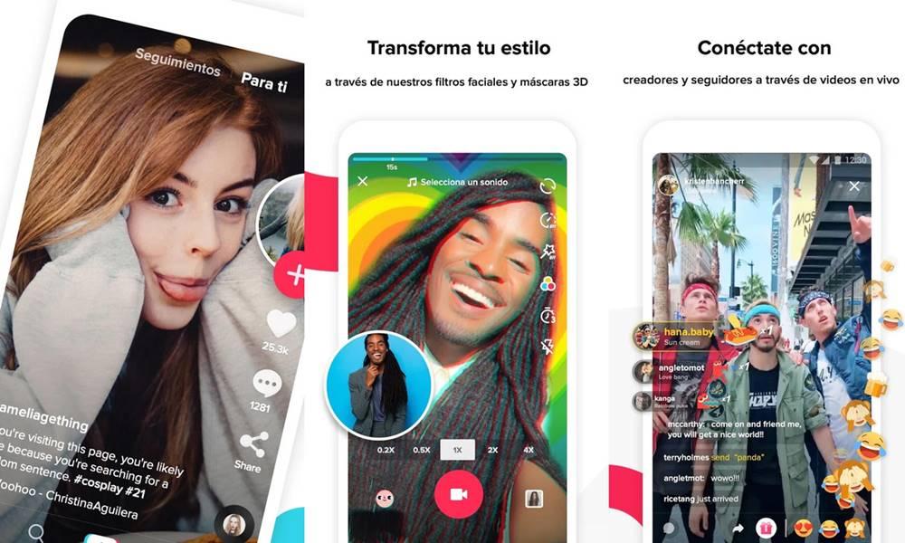 Interfaz de usuario de la app TikTok