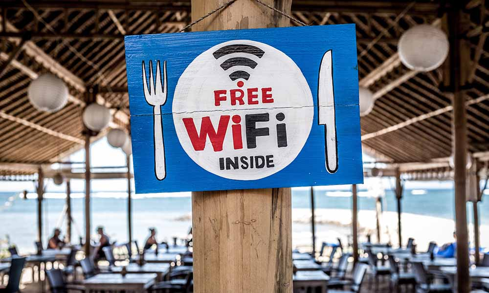 Wifi gratis en un restaurante