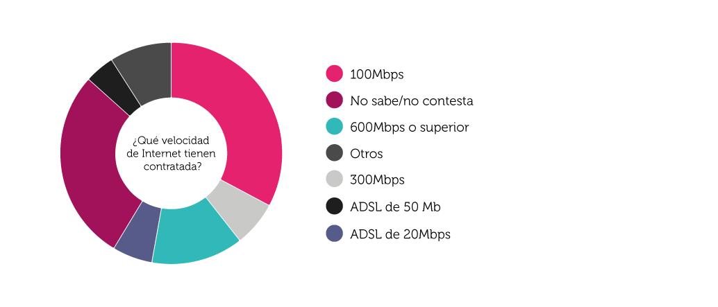 Gráfico sobre la velocidad contratada de Internet